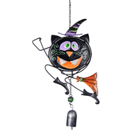 16.5*9 Inch Black Cat Magican Wind Bell Wall Car Metal&Glass Hanging Decoration Home Garden Design Crafts Ornaments DIY Gifts