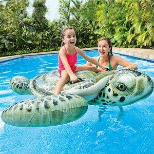 Flotador inflable de juguete para piscina, tortuga marina de imitación de cocodrilo gigante de 75 pulgadas, juguete de natación