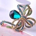 Turco Jóias Waterdrop Broche Flores de Cristal Banhados A Ouro Colar Suéter Pin Mulheres Corsage Broches De Noiva Retro