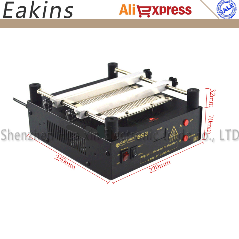 GORDAK 853 High power ESD BGA rework station PCB preheat and desoldering IR preheating station puhui t862 irda infrared bga rework station bga smd desoldering rework station free tax to eu