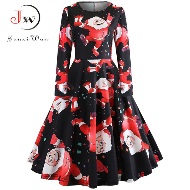 Elegant Women Dress Autumn Bodycon Long Sleeve A Line Midi Party Dress Floral Print Vintage Christmas Dresses vestidos