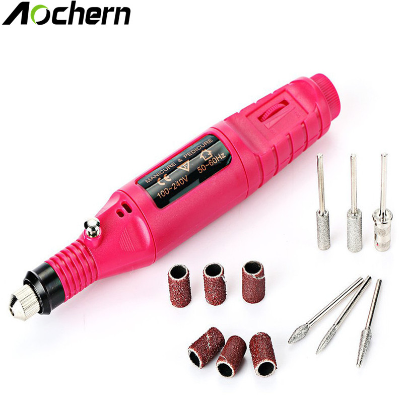 Aochern Pens Electric nail drill Apparatus for manicure machine Pedicure Milling cutter for manicure Drill for