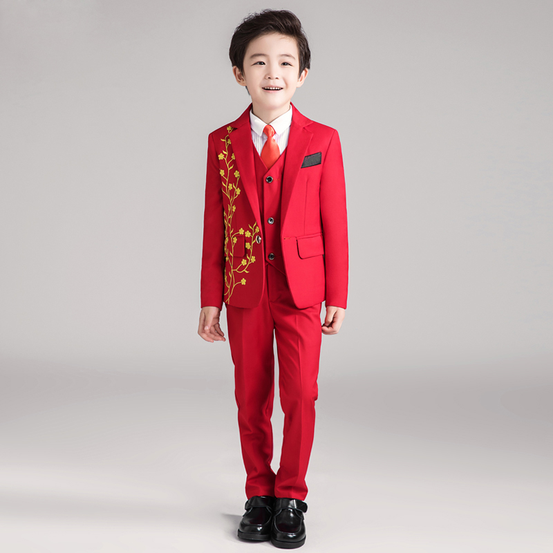 Flower girl small dress childrens costume suit suit big red suit dip flower boy autumn childrens gentleman dress suitFlower girl small dress childrens costume suit suit big red suit dip flower boy autumn childrens gentleman dress suit