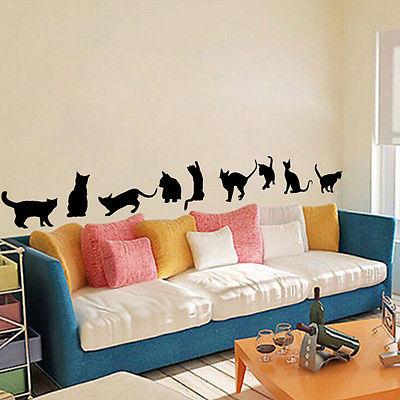 Black 150X26cm 9 Cats Wall Stickers Vinyl Home Art Decor Kids Room Nursery Decal 1