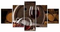 5 Adet/takım Çerçeveli Tuval Duvar Sanatı Resim Kırmızı şarap içecekler serisi Kanvas Modern Duvar Resim Sergisi En Ev Dekorasyon