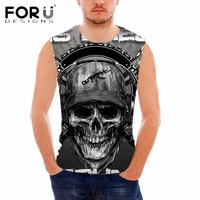 FORUDESIGNS Vintage 3D Skulls Printing Men S Summer Sleeveless Tank Top Male Workout Bodybuilding Fitness Casual