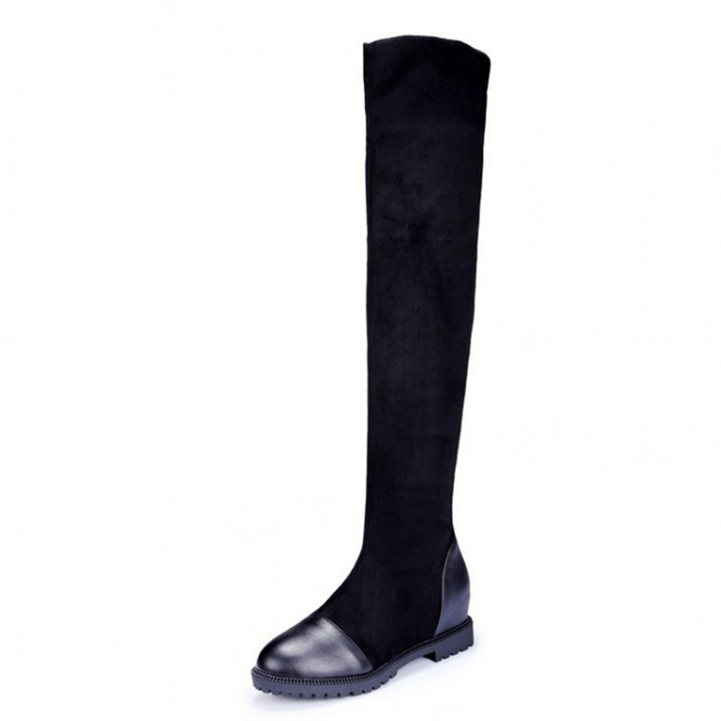 Size 35-43 Autumn Women's high-quality shoes elastic material platform women's boots  2019 new knee boots high boots with height