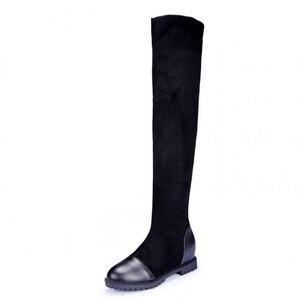 Image 2 - Size 35 43 Herfst vrouwen hoogwaardige schoenen elastische materiaal platform vrouwen laarzen 2019 nieuwe knie laarzen hoge laarzen met hoogte