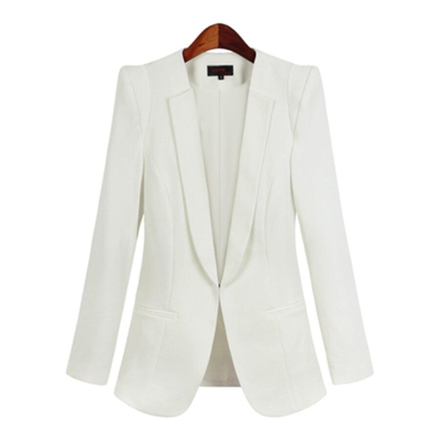 White Suit Women Slim Jacket Office 2017 Elegant Blazer Plus Size Formal Female Business Suit Blouson Ladies Blazers 50N0078