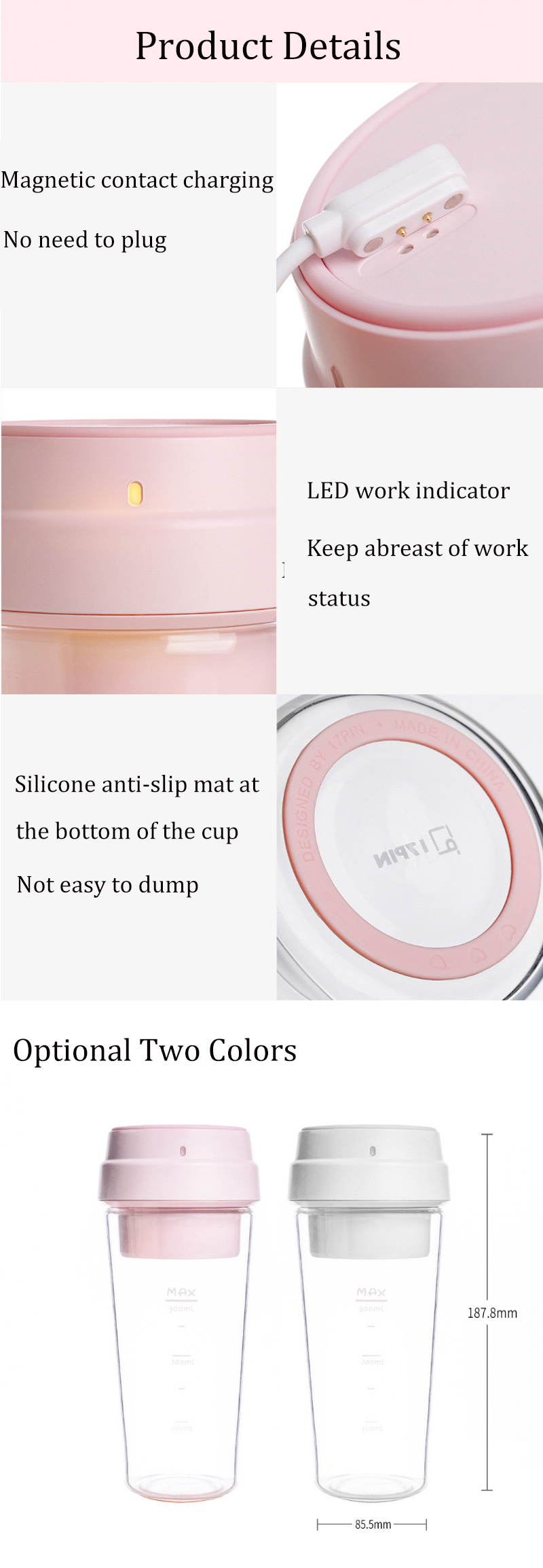 For Xiaomi 17PIN Star Fruit Cup Portable Juicer 400ML Cup Magnetic Charging