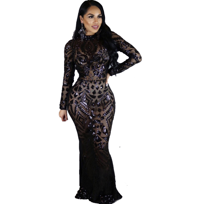 Detail Feedback Questions about Doyerl Night Club Party Dress Sexy Women  Full Sleeve Sequin Long Dress Black Sparkly Runway Floor Length Maxi Dress  Robe ... 6ca306539083