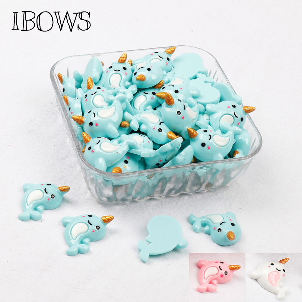 IBOWS 10pcs Flat Back Dolphin Resin Cute Unicorn Charms DIY Cabochons Resin Necklaces Embellishment Accessories Craft Resin