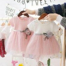 Стиль Прекрасный Платье для маленьких девочек летняя одежда для новорожденных, с изображением пляжное платье принцессы для вечеринки, дня рождения платье для крещения костюм одежда для малышей