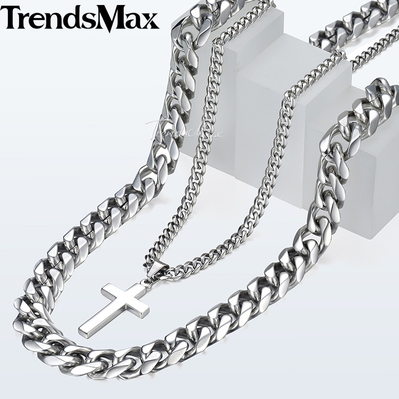 Big Men's Necklace Silver Stainless Steel Curb Cuban Link Chain Cross Pendant Necklace for Men Hip Hop Jewelry 14mm 24inch DN04 8mm 10mm 12mm 14mm stainless steel curb cuban link chain hip hop punk heavy gold silver plated cuban necklace for men