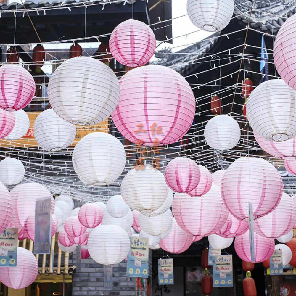 "4"" 6"" 8"" 10"" 12"" 14"" 16""Round Chinese Paper Lantern Lampion Birthday Home Decoration Accessories Baby shower Linternas bautizo"
