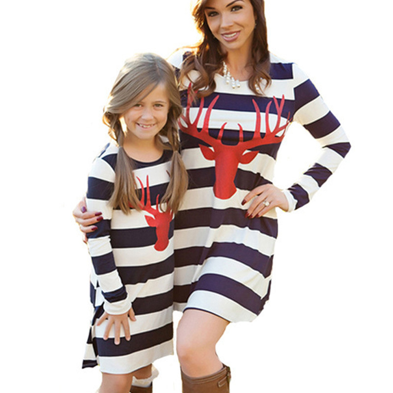 Mommy Ane Me Mom Mother Daughter Dresses Pajamas Striped Christmas Family Matching Outfits 2017 Autumn Long Sleeve 100% Cotton