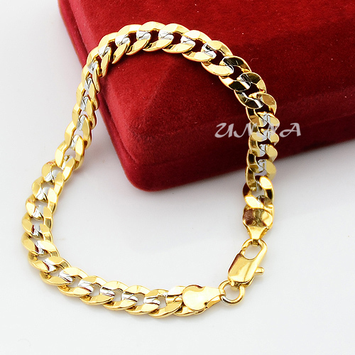 7mm Cool Man Woman Boys White Yellow Gold Color Curb Chain Link Bracelets Jewelry No