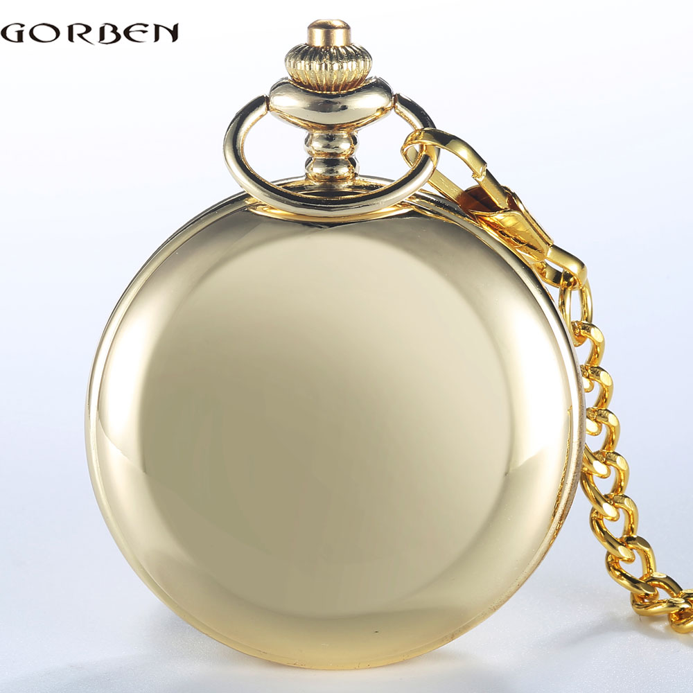 GORBEN Brand Classical Golden Polishing Quartz Men Pocket Watch Round Roman Number Necklace Relogio De Bolso Gift Quartz Watch