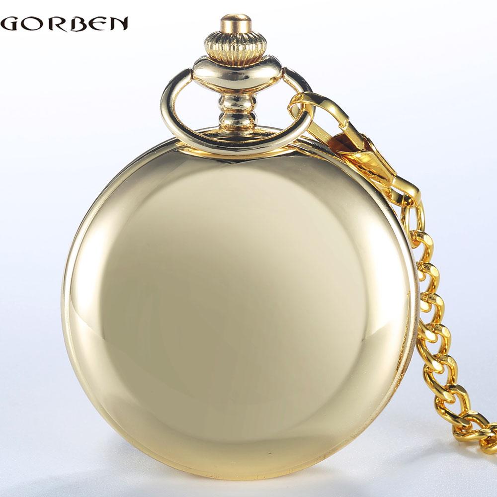 GORBEN Brand Classical Golden Polishing Quartz Men Pocket Watch Round Roman Number Necklace Relogio De Bolso Gift Quartz Watch