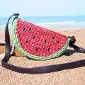 Bolsa de ombro único bolsa de mão-feito de tecido grama verde melancia saco de praia verão seaside férias frete grátis