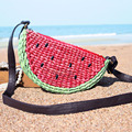 Single shoulder bag handbag hand-made woven grass green watermelon summer beach bag seaside holiday free shipping