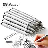 Superior 10 Uds pluma de dibujo con aguja pigmento impermeable Fineline Sketch rotulador pincel para oficina escuela arte de escritura proveedor