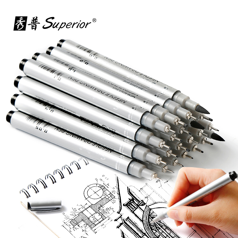 Superior 10Pcs Needle Drawing Pen Waterproof Pigment Fineline Sketch Marker Brush Pen For Office School Writing Art Supplier