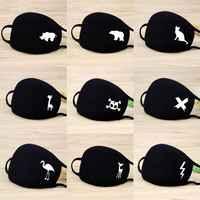 Unisex Warme Verdickung Halbe Gesicht Mund Maske Baumwolle Cartoon Muster Anti-Staub Anti-Bakterielle Atemschutz Klassische Schwarz Weiß