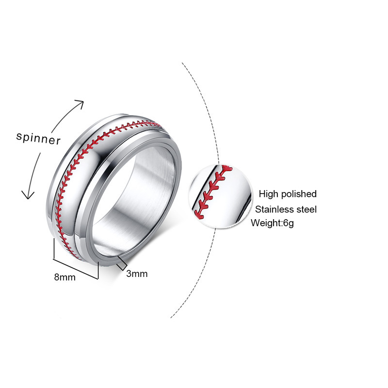 Silver Men's Baseball Style Ring