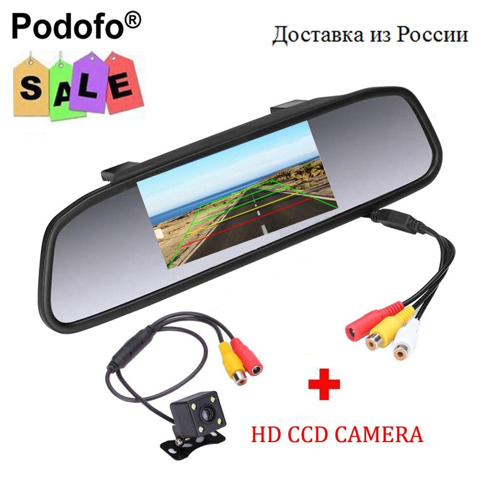 Podofo CCD HD impermeable aparcamiento Monitores S, 4 LED de visión nocturna coche cámara de visión trasera + 4.3 pulgadas coche espejo retrovisor Monitores