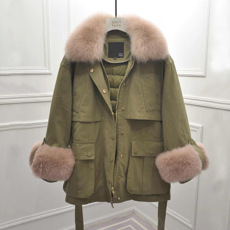 Зимняя куртка женская из натурального меха 2019 Брендовая женская гусиная пуховая парка s натуральный Лисий Мех пуховая Парка женская зимняя куртка женская зимняя верхняя одежда
