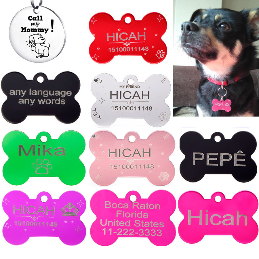 2 Pcs/lot Personalized Dog Id Tags Aluminium Pet Tag For Cat On Dogs Collar Can Choose Font Name Tel Sex (in Front And Back)