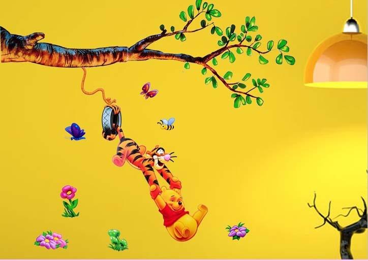 Cartoon Winnie the pooh Wallpaper kids Baby Room Removable Vinyl ...