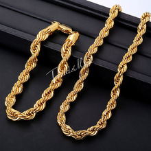 Trendsmax 7mm ROPE Necklace Bracelet Chain Yellow Gold Filled Necklace Bracelet Jewelry Sets Womens Mens Chain Sets Gift GS02