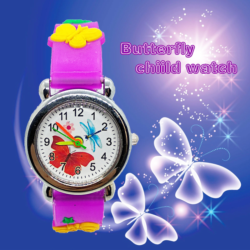 Good Quality Fashion Girl Beauty Butterfly Children Watch Casual Child Bracelet Kids Watches For 1-10 Years Old Baby Gift Clock