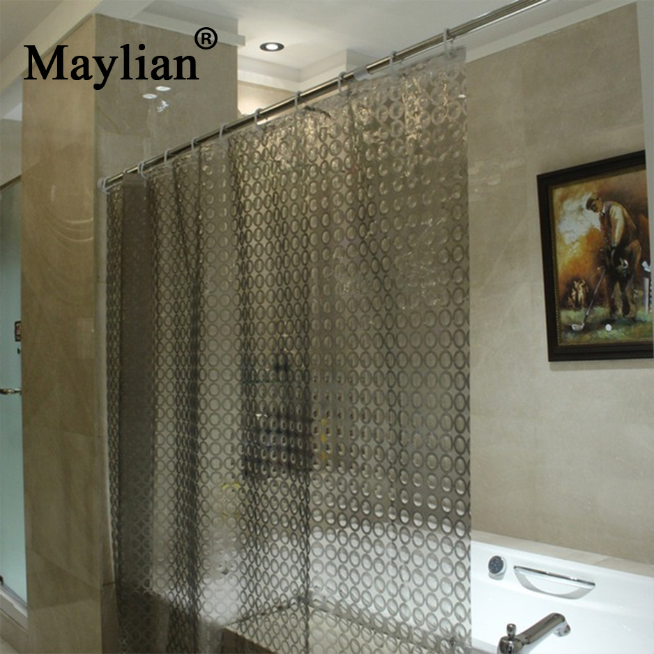 Shower Curtains Bathroom Pvea Home Waterproof Moldproof 180*180 3d Translucent Thick With Hooks Fashion Hsg009