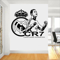 Sports Cristiano Ronaldo Vinyl Wall Sticker CR7 FC Footballer Mural Decal Art DIY Vinilos Paredes Decor