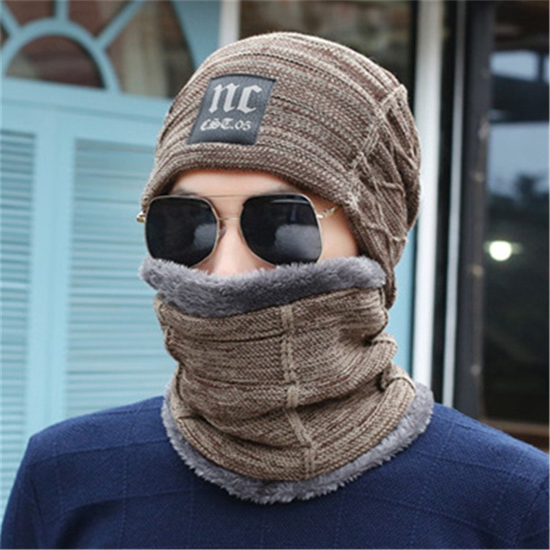 Yyun 2pcs Winter Scarf Hat Sets Men Women Warm Thick Snood Beanie Set Unisex Caps Scarves Sets Male Female Neck Warmer
