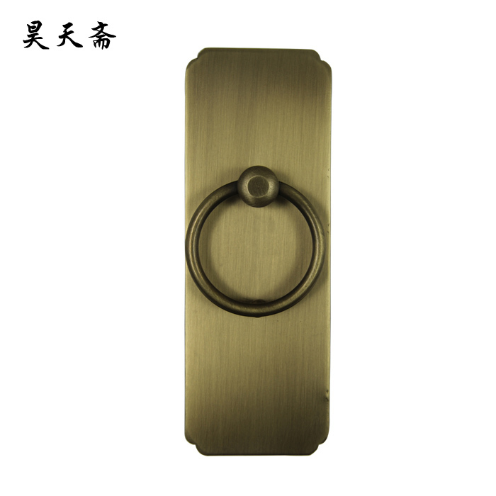 [Haotian vegetarian] antique bronze door knocker ring straight classical trumpet copper handle HTA-135 цена 2017