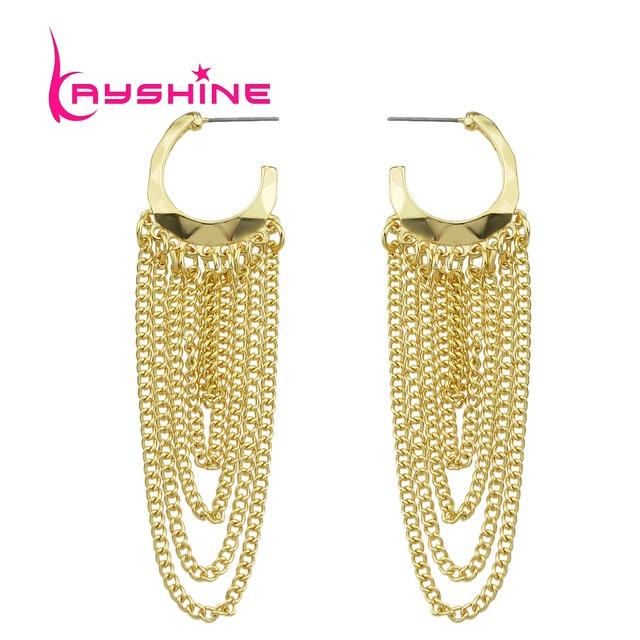 Kayshine New Hoop Earrings Gold Color Long Chain Tassel Dangle
