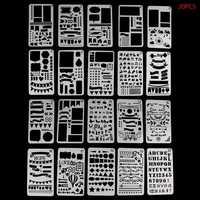 20Pcs Pallottola Ufficiale Stencil Set di Plastica Planner FAI DA TE Modello di Disegno Diario Decorazione Del Mestiere