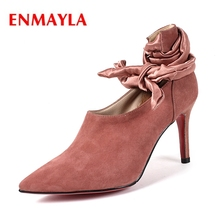 ENMAYLA Kid Suede Pointed Toe Lace-Up Thin Heels Womens Shoes Tacones Mujer High Heel Calzado Mujer Size 34-43 ZYL2042
