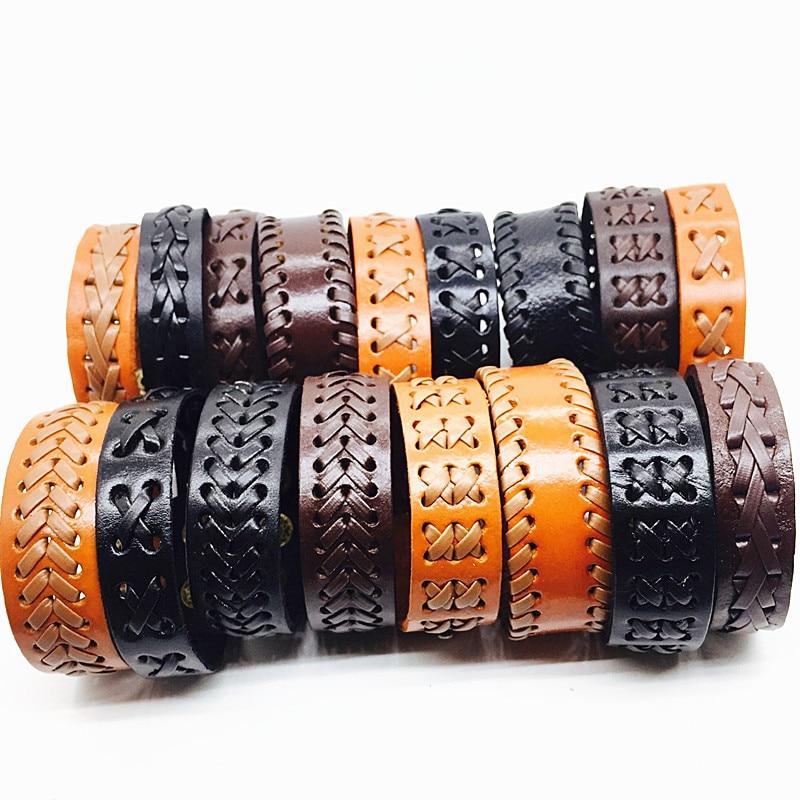 MIXMAX 50pcs men leather bracelet bangle wristband vintage retro women unisex handmade Press button black brown