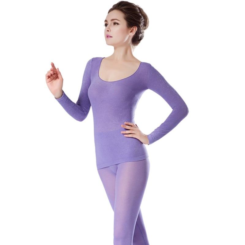 Women Winter 37 Degree Seamless Long Johns Women Ultra-thin Elastic Thermal Underwear