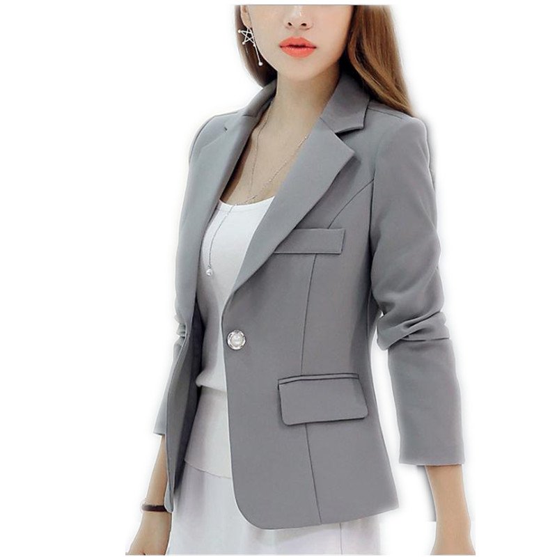2019Simple SpringAutumn Women Short Notched Collar Blazers Female Size S-2XL Single Button Cotton Office Lady Slim BlazersCQ1150 jeans con blazer mujer