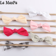 6Pcs/set Nylon Baby Bows Headbands for Girls Lovely Children Hair Accessories Newborn Headwear 2019