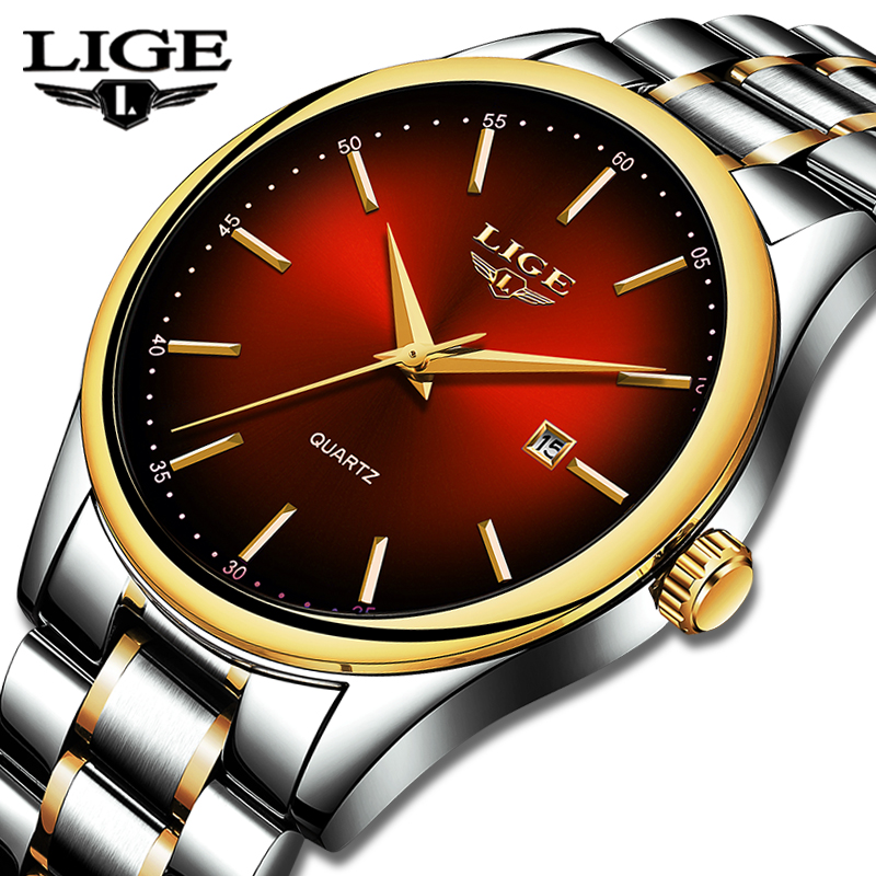 LIGE New Mens Watches Top Brand Luxury Full Steel Business Quartz Watch Men Fitness Sports Waterproof Clock Relojes Hombre+Box
