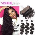 Envío Libre del pelo humano 13x4 frontal del cordón de cierre con bundles Peruana virgen del pelo onda del cuerpo 3/4 bundles MS lula pelo