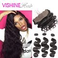 Free Shipping human hair 13x4 lace frontal closure with bundles Peruvian virgin hair body wave 3/4 bundles ms lula hair
