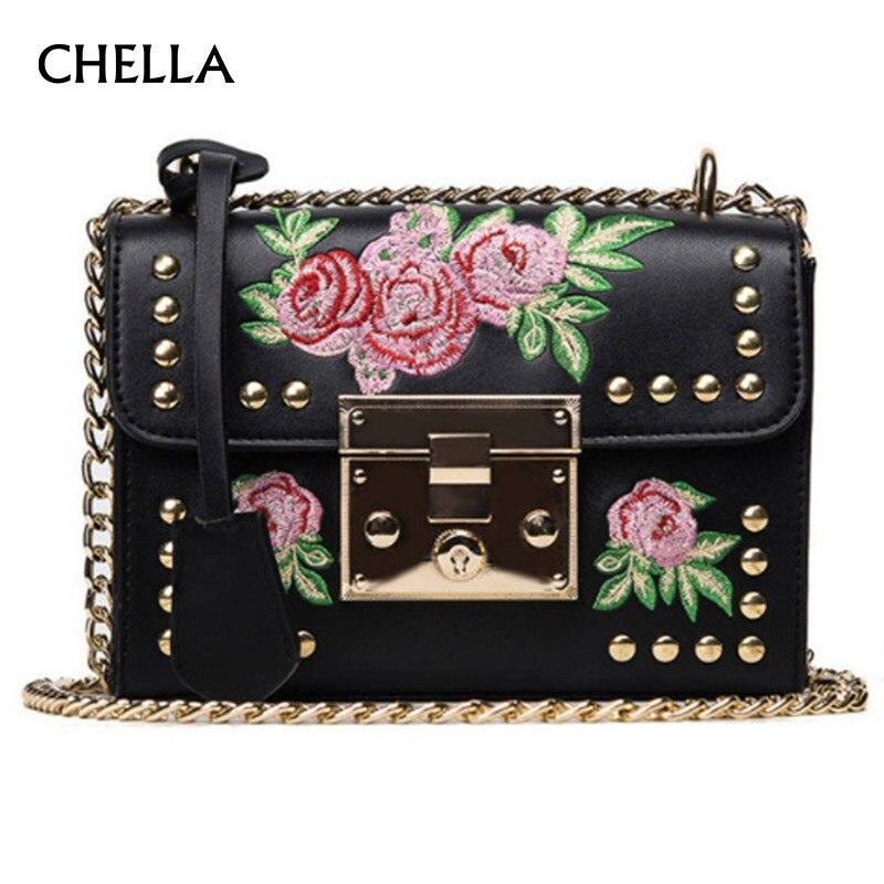 Women Handbag Embroidery PU Leather Female Shoulder Bag Rose Flower Design Ladies Flap Bag Rivet Crossbody Feminino Bolsa SS0369